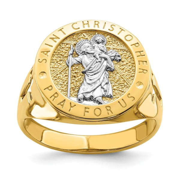 Men's 14 kt. yellow gold signet ring that measures 16.93 mm X 17.5 mm. This signet ring is accented with a sterling silver, rhodium-plated, Saint Christopher Medallion. This ring has a open back and a satin polished finish.