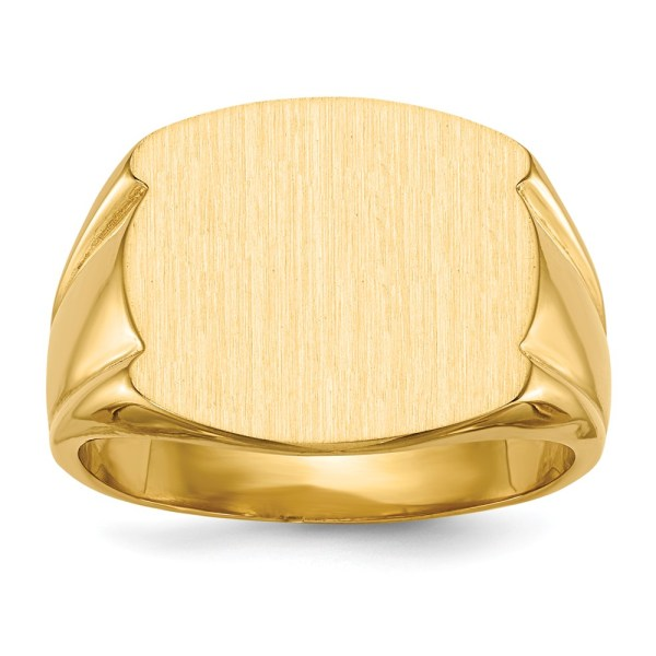 Men's 14 kt. yellow gold, signet ring that measures 15 mm X 16.5 mm. This signet ring has a closed back and a tapered band. This signet ring has a satin and polished finish. This ring is engravable.