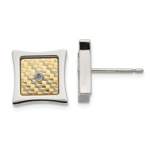 Ladies two - tone stainless steel square post earrings with prong set, round diamonds that all together weigh .03 twt. These earrings have a18 kt. yellow gold, basket weave accent center with a polish finish. These earrings are a button style with a push back.