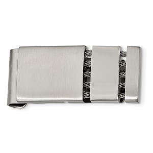 Stainless Steel, 42 mm X 18 mm, money clip with three sections, anchored together by gray ropes and with a brushed and polished finish.