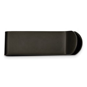 """Stainless Steel, Black IP-plated, 45 mm X 15 mm, sideways """"U' shaped, money clip with a lipped edge and with a brushed and polished finish."""