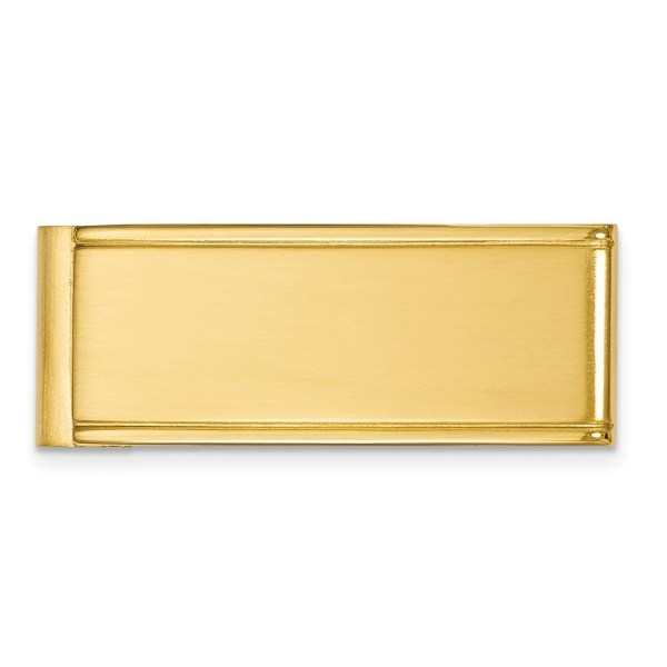 Stainless Steel, yellow IP-plated, 44 mm X 18 mm, framed rectangular money clip with a brushed and polished finish.