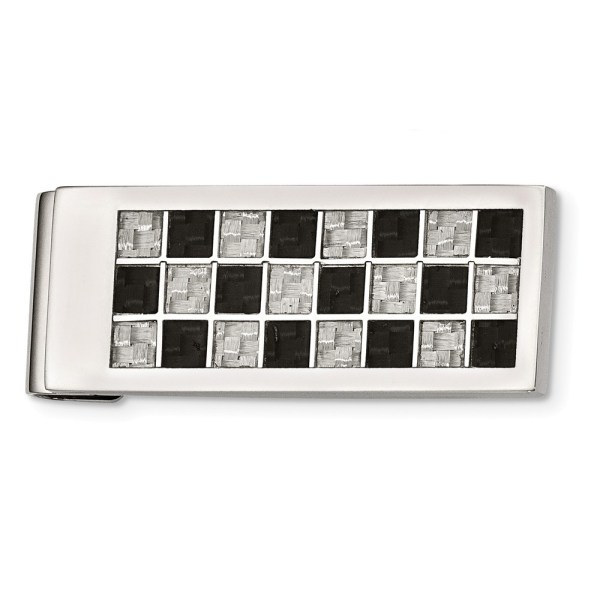Stainless Steel, 49 mm X 20 mm, rectangular money clip with a checkered inlay of black and grey carbon fiber and a polished finish.