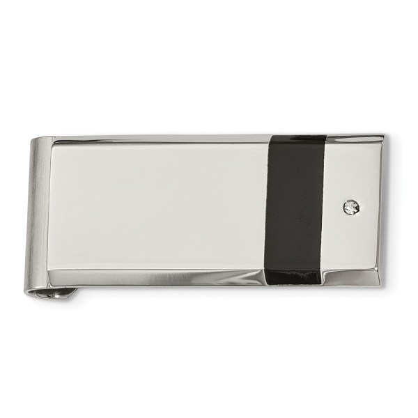 Stainless Steel, 47 mm X 22 mm, rectangular money clip, accented by a vertical band of black rubber and a bezel set CZ and with a brushed and polished finish.