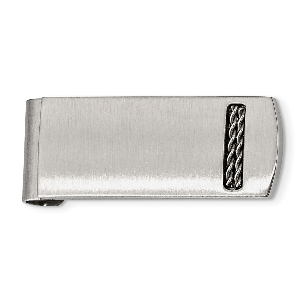 21mm x 50mm Jewel Tie Stainless Steel Brushed Diamond Accent Hinged Money Clip