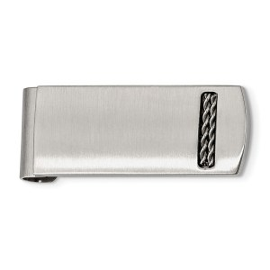 Stainless Steel, 47 mm X 19 mm, rectangular money clip with a rounded edge, accented by an inlay of two metal ropes and with a brushed and polished finish.