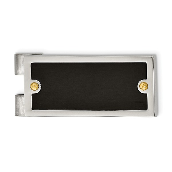 Stainless Steel, 47 mm X 22 mm, rectangular money clip with an inlay of black IP-plating and accented by two yellow IP-plated side screws and with a polished finish.