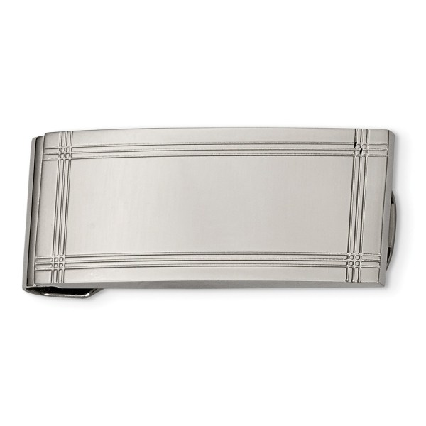 Stainless Steel, 50 mm X 21 mm, rectangular money clip, accented by three, grooved lines along all four edges and with a polished finish