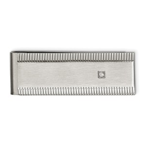 Stainless Steel, rectangular, money clip with textured accents on the top and bottom and with a bezel set, round cubic zirconia and with a brushed and polished finish