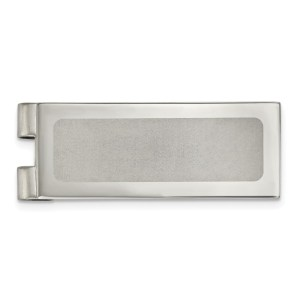 Stainless Steel, 54.28 mm X 20 mm, rectangular with flat edges, money clip with a laser cut center and with a polished finish.