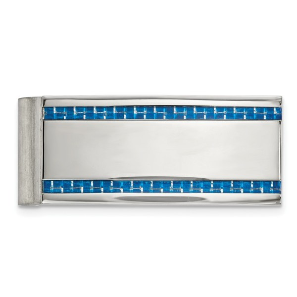 Stainless Steel, 53.41 mm X 22 mm, rectangular money clip, accented with two vertical inlays of blue carbon fiber and with a polished finish.