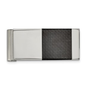 Stainless Steel, 50.14 mm X 22 mm, rectangular money clip, accented with a square inlay of black carbon fiber and with a brushed and polished finish.