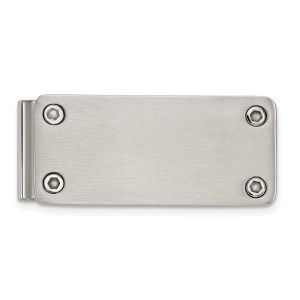 Stainless Steel, 51.43 mm X 22 mm, rectangular money clip accented by four corner screws and with a brushed and polished finish.