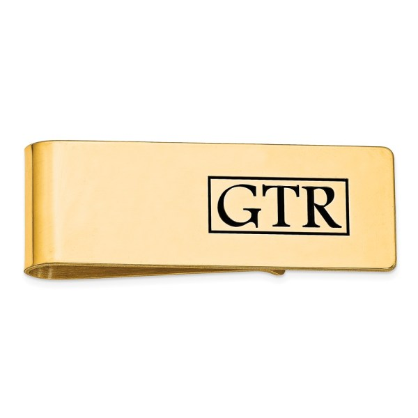 14 kt. Gold Plated over sterling silver, 54 mm X 19 mm, rectangular money clip accented by a enamel, recessed letters, monogram with a polish finish.