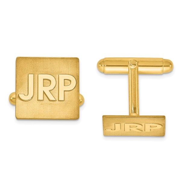 Gold plated over sterling silver, 15 mm X 15 mm square, with laser designed raised letters monogram, cuff links with polished finish.