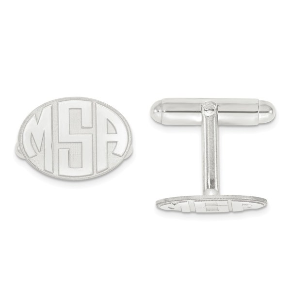 Sterling Silver, rhodium plated, 12 mm X 17 mm oval, with laser designed raised letters monogram, cuff links with a polish finish.