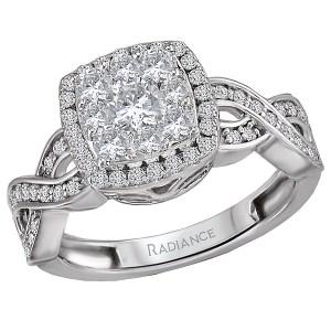 Split Shank Cushion Halo Diamond Cluster Ring