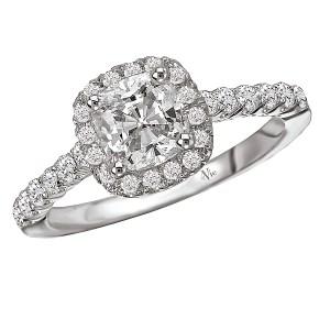 Cushion Halo Semi-Mount Diamond Ring