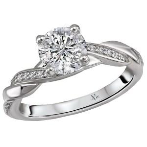 14K White Gold Braided Semi-Mount Diamond Ring