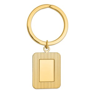 14 kt. yellow gold, framed, 26 mm X 20 mm rectangle, disc key ring with a polish finish.