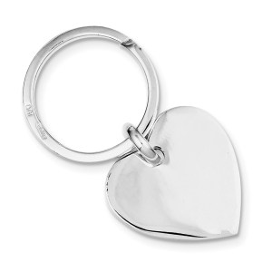 Sterling Silver, 26 mm X 26 mm heart key ring with a polish finish.