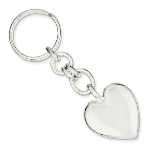 Sterling Silver, 32 mm X 30 mm, heart key ring with a polish finish.
