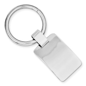 Sterling Silver, rhodium plated, 33 mm X 21 mm, concave, rectangle, key chain with a polish finish.