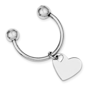 Sterling Silver, rhodium plated, 18 mm X 18 mm heart, key chain with a polish finish.