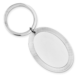 Sterling Silver, rhodium plated, 45 mm X 33 mm, framed oval, key chain with a polish finish