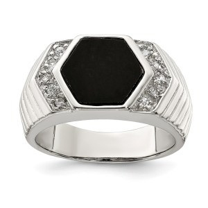 Men's sterling silver hexagon shaped onyx ring with cubic zirconia accents on both sides of the band. The ring has textured sides and a polished finish