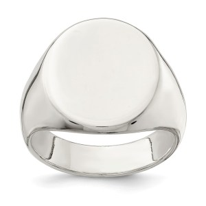 Men's sterling silver, closed back, oval shaped, signet ring that measures 19 mm X 16 mm. This signet ring has a textured back and a polished finish. This ring is engravable.