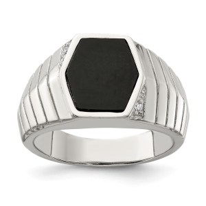 Men's sterling silver ring with a hexagon shaped onyx center and with symmetrical cubic zirconia accents. This ring has textured sides and a polished finish.