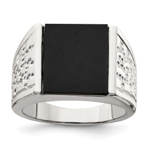Men's sterling silver, rhodium-plated, ring with a square onyx. This ring has textured sides and has a polished finish.
