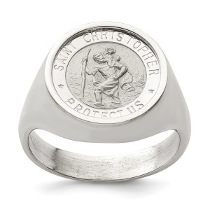 Men's Sterling Silver ring that is solid with a casted Saint Christopher and with a satin & polished finish.