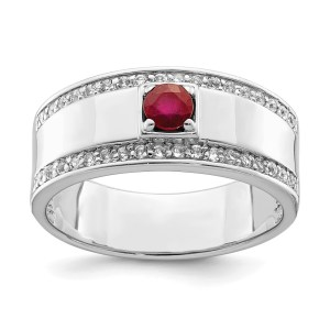 Men's sterling silver ring with a prong set, round, African ruby that weighs 2.15 ctw. This ring is accented by thirty-two, prong set, round white topaz on the both edges of the ring. The ring, also, has a polished finish