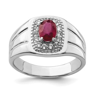 Men's sterling silver ring with a prong, oval, African ruby, that measures 5.18 mm X 7 mm. The center stone is accented by sixteen, prong set, round, white topaz. The ring is, also, accented by grooved sides and a polished finish.