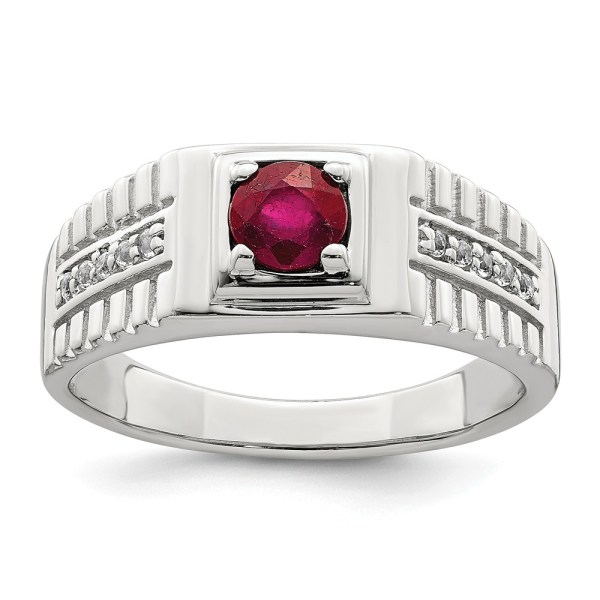 Men's sterling silver ring with a prong set, round, African Ruby that weighs .80 ctw. The ring is accented by ten, prong set, round, white topaz. The ring is, also, accented by grooved sides and a polished finish
