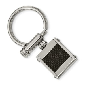 Stainless steel, 23 mm X 22 mm, rectangle, key chain with an inlay of black carbon fiber with a brushed and polished finish.