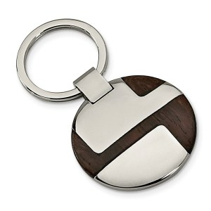 Stainless Steel with an inlay of wood, 33 mm round, key chain with a polish finish.