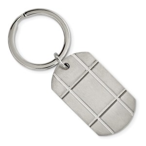 Stainless Steel, 43.5 mm X 25 mm, checkered style, dog tag style, key chain with a brushed finish.