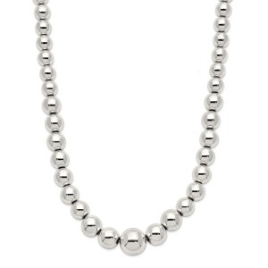 Ladies sterling silver, necklace with polished beads that gradually get larger to the center point of the necklace. This necklace has a lobster clasp closure.