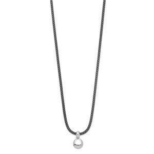 Ladies sterling silver, rhodium plated ball pendant and 18 inch ruthenium-plated wheat necklace that is adustable with a 2 inch extension.