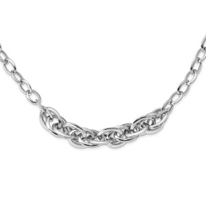 Ladies sterling silver, rhodium-plated fancy link necklace that is accented by a centered, cluster of fancy links with a polished finish. This necklace measure 18 inches and has a lobster clasp closure