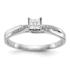 14K White Gold Illusion Set Diamond Engagement Ring