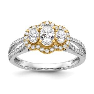 14k Two-Tone 3-Stone Infinity Diamond Semi-mount Engagement Ring