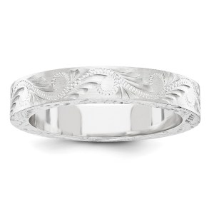 14k White Gold Fancy Etched Wedding Band