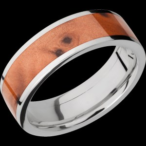 Men's 7 mm wide, flat, Titanium band with one 5 mm wide centered inlay of Thuya Burl Hardwood with a polish finish.