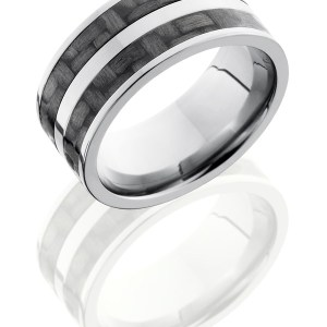 Men's 10 mm wide, flat, Titanium band with two 3 mm sections of black carbon fiber inlay on either side of a 2 mm sterling silver inlay with a polish finish.