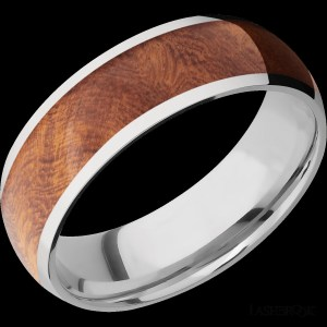 Men's 7 mm wide, domed, Cobalt Chrome band with one 5 mm wide centered inlay of Asian Iron Wood with a polish finish.