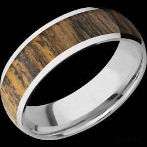 Men's 7 mm wide, domed, Cobalt Chrome band with one 5 mm wide centered inlay of Bocote Hardwood with a polish finish.